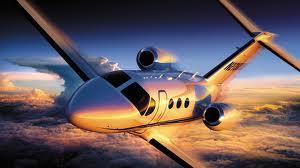 Aircraft with sun set